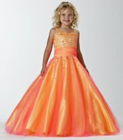 Wholesale 2015 Girls Pageant Dresses Orange Tulle Crystals Beads Square Neck Lace Up Back Floor Length Formal Flower Girls Gowns PT13242