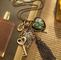 Wholesale A147 Love Peacock Feather Leaves Key Tassel Necklace
