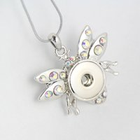 bee metals - Alloy Crystal honey bees metal snap necklace with chain pendant necklace for woman and man snap jewelry