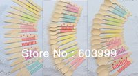color knife set - Pick Color LARGE Pastel Wooden Cutlery Set disposable wooden spoon fork knife in Rainbow Chevron Stripe Polka Dots Free Ship