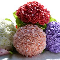 purple wedding decorations - 2015 Bridal Artificial Wedding Bouquet Beach Wedding Decoration Bridesmaid Flower Crystals Silk Rose White Purple Blue Red Pearls WF031