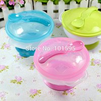baby appetite - Baby Special Sucker Bowl Anti Skid Suction Wall Table Bowl with Lid Spoon Children Baby Good Appetite