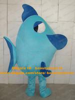 Wholesale Lovely Blue Deep Sea Fish Flounder Flatfish Plaice Mascot Costume Mascotte With Big Dark Blue Mouth Adult Size No Free Ship