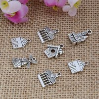 Wholesale New Vintage Charm Plating Ancient Silver Mixing House Castle Charms Pendant DIY Fashion Jewelry Fitting S6236