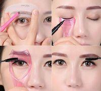 Wholesale 2015 New Arrival Makeup tool Eyebrow Card Eyeline Assist Eyelash Eyebrow Brush Brush Eyelash Baffle Makeup set Stencils