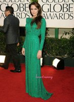 Wholesale Shining Long Sequined Green Prom Dresses Angelina Jolie Red Carpet Charming A Line Full Sleeve Celebrity Dresses Evening Dresses CDAJ02