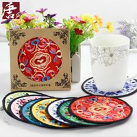 Wholesale Classical Chinese style embroidery and Brocade cup mat A gift with Chinese characteristics Household items Cultural characteristics