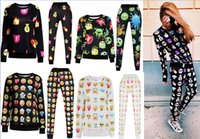 Wholesale 18 styles hot Emoji Outfit For Women Men Unisex Emoji Joggers Set New Arrival D Painted Cotton Blended Emoji Outfit Pant