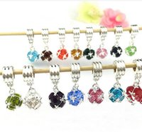Wholesale 5Pcs mixed bright silver plated Ball birthstone dangle charm beads Z934