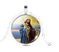 christian - Vintage Jesus Christian Religious Pendant Necklace Glass Cabochon Pendant Silver Plated Art Picture Chain Necklace