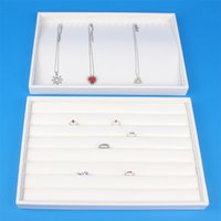 Wholesale High Quality White Leatherette Ring Necklace Display Tray Stand Rack Holder