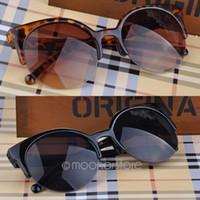 Resin Lenses retro style sunglasses - 2015 Fashion Retro Style Cat Eye Semi Rim Round Sunglasses for Unisex Men Women Eyewear Eyeglasses MPJ093