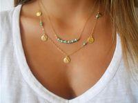 Envío de la gota! Lentejuelas doble de joyería de moda, collares el color turquesa de la joyería nupcial, de cadena corta clavícula barato, china jewelry.10pcs.XR