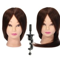 Wholesale Salon Real Human Hair Hairdressing Practice Head Mannequin With Wig And Clamp Styling Training Heads Model Set