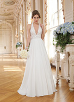 sleeveless halter top - 2015 Summer A Line Lace Wedding Dresses Halter V Neck Sleeveless Backless Court Train Chiffon Bridal Gown With Beads Sequins On Top
