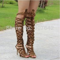 Wholesale 2015 New designer women over Gladiator knee sandals boots straps gladiator boots cut outs high heels shoes plus size AA028
