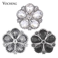 Clasps & Hooks Alloy everyday VOCHENG 18mm Noosa Snap 3 Colors Ginger Snap Interchangeable Popper Jewelry Accessory Crystal Button Jewelry (Vn-557)