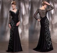mother of the bride sequin dresses - 2015 Hot Sale Mother Of The Bride Dresses With Long Sleeves Sequins Pleated Taffeta Plus Size Black Gold Evening Prom Dresses On Sale