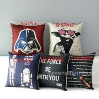 Wholesale 43 CM Star Wars Pillow Covers Cartoon Minions Cushion Covers Linen Valentine Pillow Case Cushion Cover European Throw Pillow Cases k1605