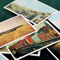 Wholesale Popular Retro Postcards Rural Scenery Greeting Gifts Cards Vintage style Hand Drawing Post card gsm