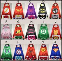 Wholesale Reversible Superhero Cape Costume Cape Kids Mask Super Hero Supergirl Cape Mask Set Batman Superman Cape Mask L70 W70CM