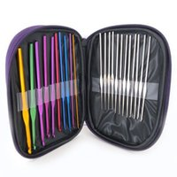 aluminum gloves - 22PCS Set New Multi color Aluminum Handle Crochet Hooks Kit Yarn Stitches Knitting Needles Weave Craft Tools With Case for sweater gloves