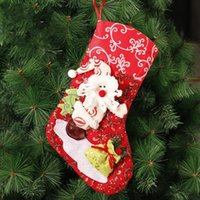 Wholesale New Arrival Fashion Christmas Decorations Stocking Pattern Christmas Stocking Festival Party Ornaments Cm Father Chirstmas Gift Bags WWL