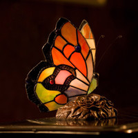 Wholesale Tiffany Butterfly Lamp Stained Glass Butterfly Table Lamps Bedroom Living Room Study Art Deco Tiffany Lamp Desk Lights