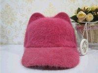 Red baseball cap ear warmer - women winter hat velvet one size lady baseball cap cute cat ears warm hat street fashion female hat colors available