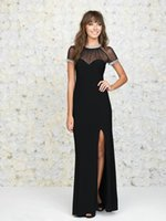 Wholesale 2015 Sexy Mermaid Long Prom Dresses Beaded Mesh High Neck And Short Sleeve Open Back Sweetheart Black Chiffon Party Gowns Evening Dress
