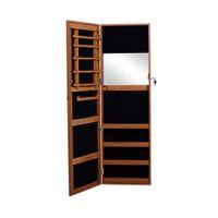 bedroom door key - Oak Wooden Mirrored Jewelry Armoire Cabinet Chest Storage with lock and key Wall Mount Hang over the Door USA Stock