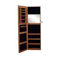 bedroom storage chests - Oak Wooden Wall Mount Hang over the Door Mirrored Jewelry Armoire Cabinet Chest Storage with lock and key USA Stock