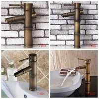 bathroom sink fittings - antique brass bathroom faucet bronze bamboo shape sink faucets deck mounted basin tap cold and hot water