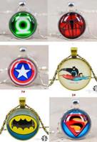 Wholesale superhero time gem necklace avengers batman superhero spiderman Captain America pendants men lady girl sliver chain party necklace collar