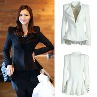 Wholesale 2015 Womens Elegant One Button Peplum Suit Casual Blazer Swallowtail Tops Jacket Coat