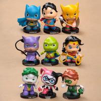 Wholesale Super Heroes Batman Superman Wonder woman Joker catwoman Harley Quinn Green Lantern pvc figure dolls cute