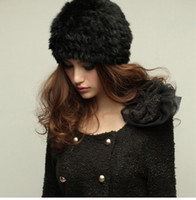 rabbit fur hat - Genuine Knit Rabbit Fur Hat Nature Rabbit fur Cap Headgear Headdress Various Fashion Women