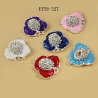 Wholesale jewelry finding enamel zinc alloy flower rhinestone connector floating charm