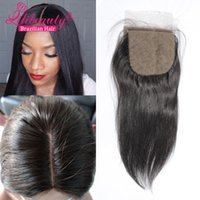 Cheap Grade 7A brazilian silk base closure Straight hair 4*4 Free  Middle  3 Part Silk Base Closure Bleached Knots