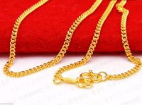 Wholesale Real Solid K Yellow Gold Necklace Curb Shape Link Chain Necklace g