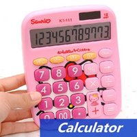 Wholesale 8 Hello kitty Calculator Mini Solar power digit calculator hello kitty electronics Stationery School supplies