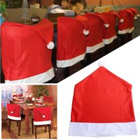 Wholesale 100pcs Santa Claus Clause Hat Chair Covers Dinner Chair Cap For Christmas Xmas Decorations Home Party Holiday Festive Red