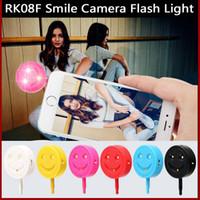 Wholesale Selfie Fill Light Mobile Use LED Flash Light RK F Smile Face in Warm Cold Light Camera Flashlights