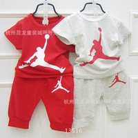Wholesale New summer children boys girls brand clothing tracksuits kids fashon jordan number t shirt Haroun pants sets children suits