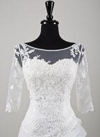 alexander pink - Lillian West Sheer Scoop Bride Wraps Jacket Half Sleeves White Justin Alexander Tulle Lace Short Length Fashion Vintage Wedding Blero