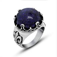 achat en gros de pierres précieuses inoxydable-Retro Gemstone irise des anneaux pour les femmes des hommes bagues de mariage 316L anneau en acier inoxydable Livraison gratuite cadeau de bonne qualité Dropshipping R557