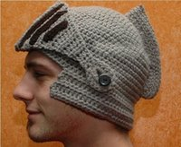 Wholesale New Roman Knight Helmet Caps Cool Handmade Knit Ski Warm Winter Hats Men Women Gift Funny Party Mask Beanies