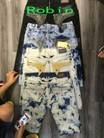 Wholesale Robin Jeans New Summer Autumn Denim Straight Jeans Embroidery Printed Button Beads Zipper Knee Length Pants RB001