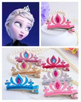 Cheap New Arrival 10PCS Frozen Elsa Crown Girl Tiaras Crown Hair Clips For Halloween Costume Baby Hairpin Accessories For party P6