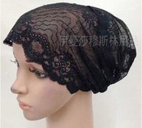 Wholesale new convenient elastic lace cap hair can pack all Muslim scarf hijab head cover hat